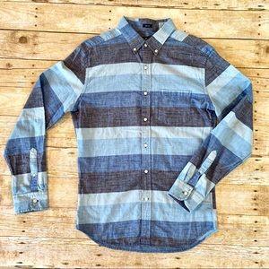 Men's striped chambray button down shirt.